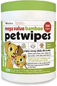 Petkin Extra Mega Valu Bamboo Natural Petwipes 200 ct, Green
