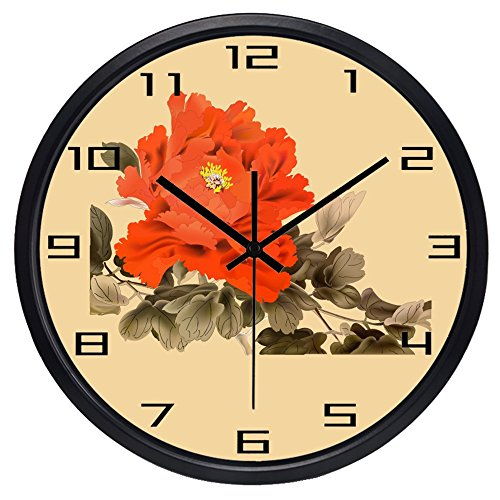 10inch Black Metal Frame Ink Painting Peony Picture Silent Non Ticking Glass Quartz Decorative Wall Clock (Peonies Decorative Wall Clock)