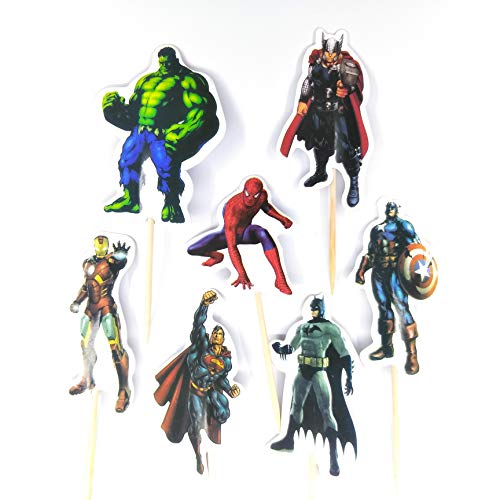 v39buy 28pcs Superhero Cupcake Toppers for Children Birthday Party Decoration Supplies Hight Quality Cardboard -