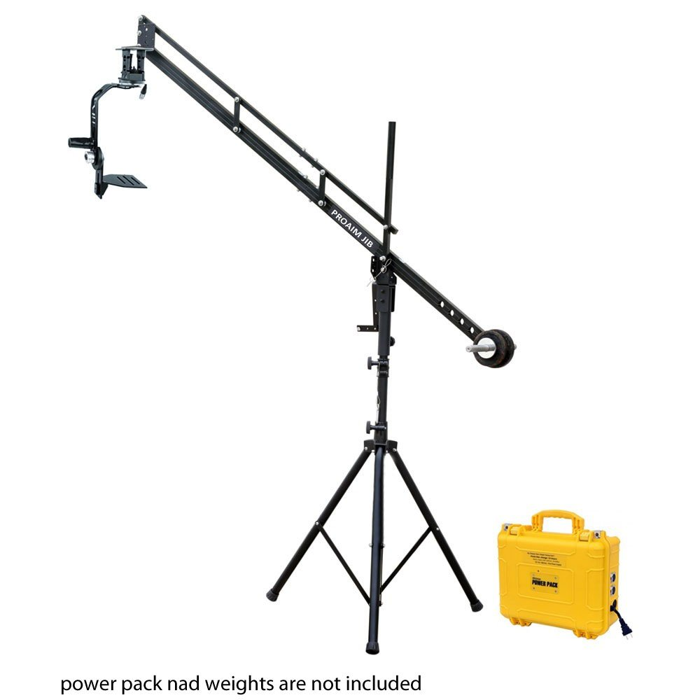 PROAIM 9ft Camera Crane Portable Jib, Jr. Pan Tilt Head, Tripod Stand P-9-JS-JRPP for DSLR Video Cameras up to 8kg/17.6lbs | Best Travel-Friendly Jib with Carrying Bag by PROAIM