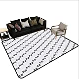 Indoor Floor mat,Ancestral Middle East Inspired Square Shapes with Diagonal Alignment Monochrome 6'x9',Can be Used for Floor Decoration