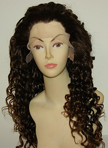 [Deep Curly Synthetic Lace Front Wigs with Baby Hair For Black Women Black Natural Color] (Curly Wigs For Black Hair)