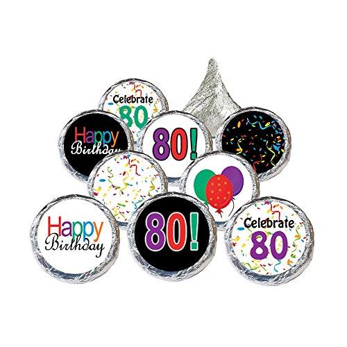 80th Birthday Party Favors (80th Birthday Party Favor Stickers - Multi-Colored (324 Count))
