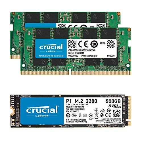 Crucial 16GB (2x8GB) DDR4 2666MHz SODIMM Memory Bundle with P1 500GB 3D NAND NVMe PCIe SSD Compatible with OptiPlex MFF 3050, 3060, 3070, 5050, 5060, 5070, 7050, 7060, 7070