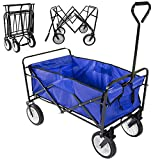 Yaheetech Foldable Utility Cart Garden Wagon Shopping Top Sports (Blue)