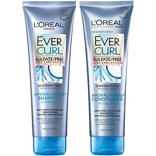L'Oreal Paris Hair Care EverCurl Sulfate Free Shampoo & Conditioner Kit, Hydrates + Softens, With Coconut Oil, For Curly Hair, (8.5 fl. oz. each) (Best Shampoo For Thick Curly Hair)