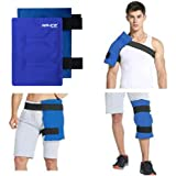 "Hip Ice Pack and Wrap with Elastic Straps for Hot Cold Therapy, Flexible & Reusable Gel Compress for Shoulder, Knee, Leg Injuries Recovery, Great Pain Relief from Aches,Bruises,Sprains -Blue, 14"" x 11"