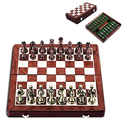 "Happybuy International Chess Set with Classic Metal Pieces and Folding Storage Wooden Chess Board 2.6"" King Luxury Travel Chess Set for Kids Adults Chess Board Game"