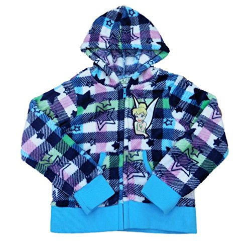 Tinkerbell Hooded Fleece - Disney Girls Blue Plaid Hoodie Zip Front Fleece Sweatshirt Tinkerbell Jacket 6
