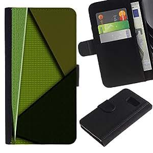 UNIQCASE - Samsung Galaxy S6 SM-G920 - Green Pattern - Cuero PU Delgado caso cubierta Shell Armor Funda Case Cover