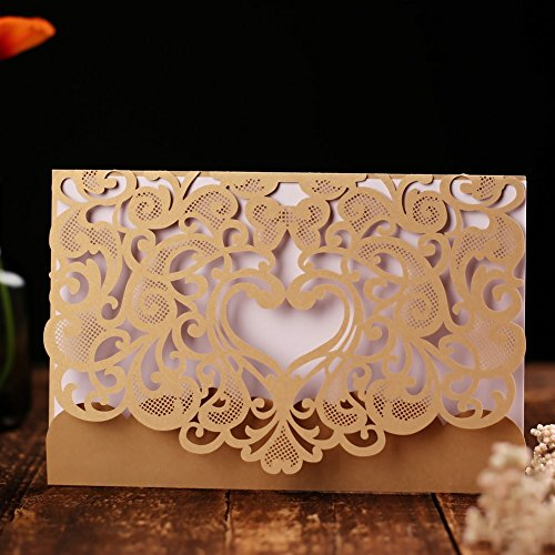 Wedding Invitation Card 50 pack, FOMTOR Laser Cut Wedding Invitations Kit with Blank Printable Paper and Envelopes (Gold+ White)