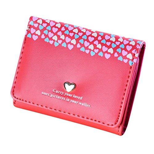 Heart Girl Wallet (Outtop Faux-Leather Small Heart Wallet with Card Holder for Women Girls (Watermelon Red))