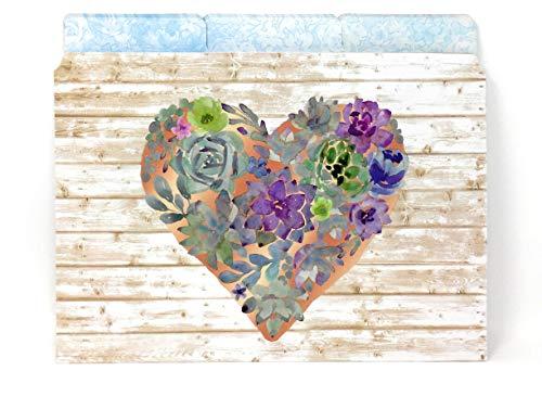 Punch Studio Succulent Heart Decorative Letter Size Woodwash File Folders 1/3 Top Tab, (61856), Set of 12