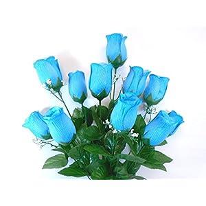 "Phoenix Silk Rose Bud Bush 12 Artificial Silk Flowers 20"" Bouquet 3974 TURQUOISE 15"