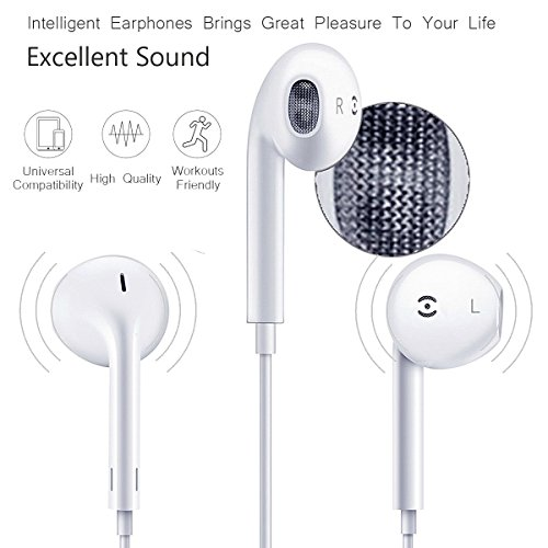 Earbuds,Earphones,Headphones,HaRuion In Ear Earbuds,In The Ear Earphones Wired with Mic/Remote Control for Apple Iphone 6S Plus/Samsung Galaxy S9 8/Huawei/Blackberry Mobile Tablet Music Players by HaRuion (Image #3)