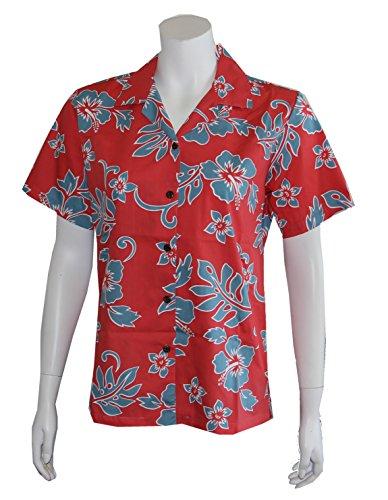 Alohawears Clothing Company Women's Classic Hibiscus Flowers Hawaiian Aloha Camp Shirt (L, Coral/Blue)