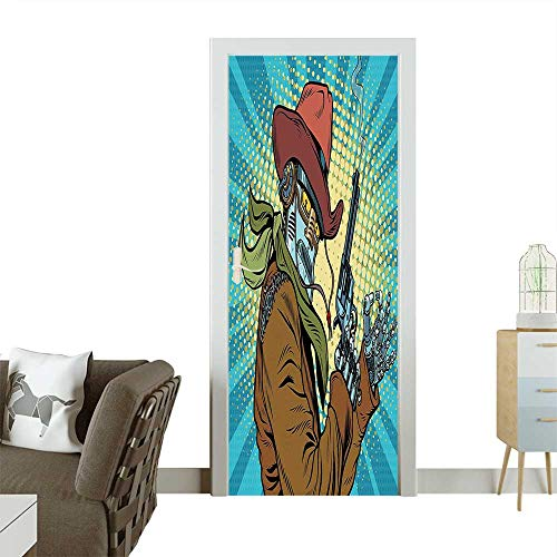 (Homesonne Decorative Door Decal Steampunk Western Style Robot Cowboy Makes OK Gesture Illustration Petrol Blue and Brown Stick The Picture on The doorW23.6 x H78.7)