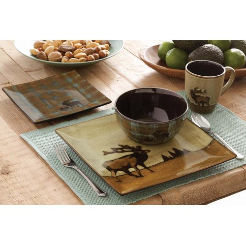 - 16 Piece Roaming Elk Stoneware Dinnerware Set w/ Mugs, Plates & Bowls. PERFECT FOR ANY CABIN ON SALE NOW