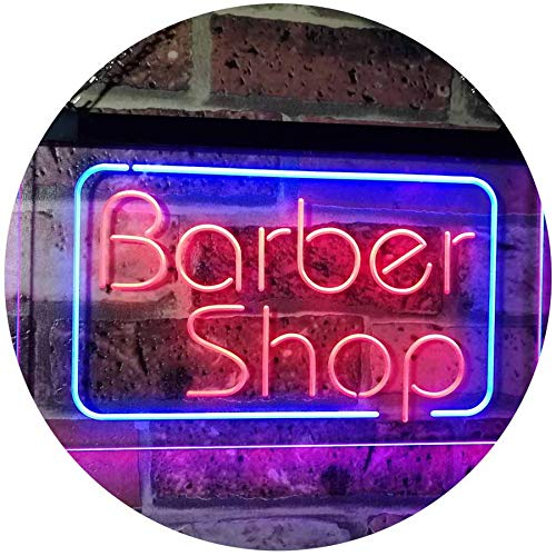 AdvpPro 2C Barber Shop Hair Cut Walk in Welcome Display Dual Color LED Neon Sign Blue & Red 16
