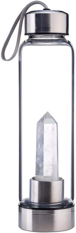 MXJEEIO Botella de Agua 100/% Cristal Natural curativa del Cuarzo 500 ML para Hacer el GemWater infundido cristalino-Incluye Las Piedras de Gema y la Manga Protectora del Neopreno
