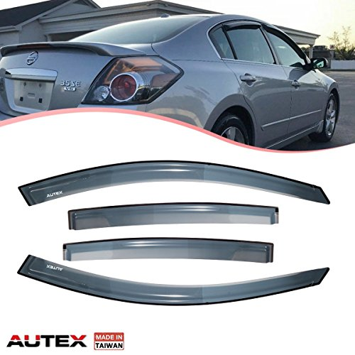 AUTEX 4Pcs Tape On Window Visor Compatible with Nissan Altima 2007 2008 2009 2010 2011 2012 Window Deflector Visor Sun Rain Shade Wind Guard Made in Taiwan
