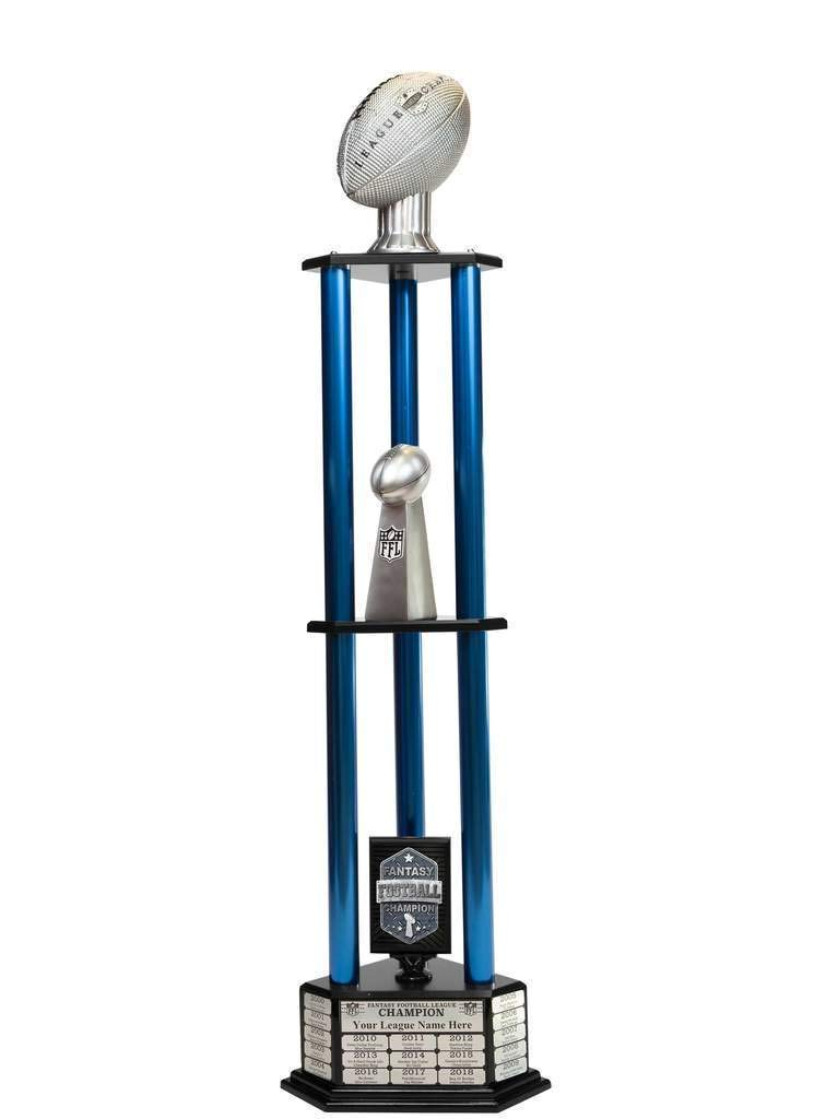 Customizable 56'' Fantasy Football Trophy with Free Engraving for up to 19 Years of Past Winners (Vivid Silver, Blue Columns) by TrophySmack
