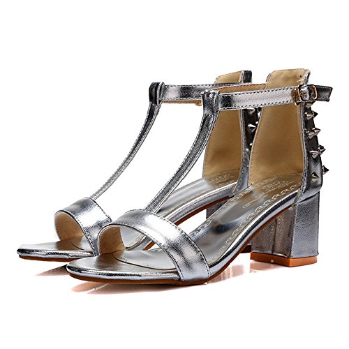 Ladies Solid Silver Sequins Adee Polyurethane Sandals 4gpqwqEdx