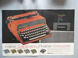 "1960 Remington Portable Typewriters. print advertisement 'centerfold' 13 1/2""x 21"" (remington quiet-riter eleven.) original vintage magazine Print Art."