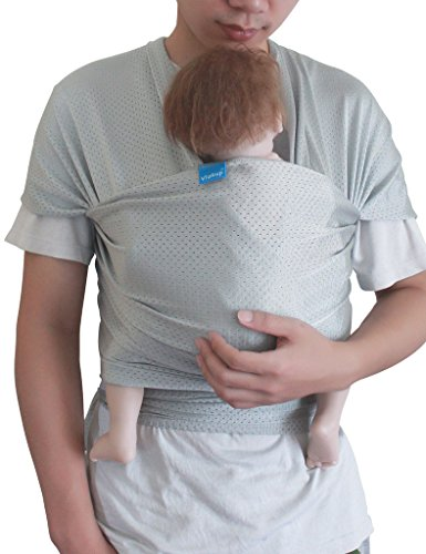 - Vlokup Baby Wrap Sling Carrier for Newborn, Infant, Toddler, Child | Breathable Lightweight Stretch Mesh Water Sling | Nice for Summer, Pool, Beach, Swimming | Perfect Shower Gift Lightgray