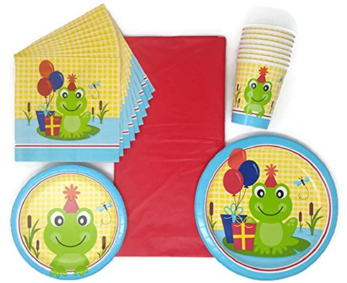 Supplies Party Pack Paper Plates Napkins Cups and Tablecloth Frog Theme Bundle of 5, Service for 8 (Birthday Frog)
