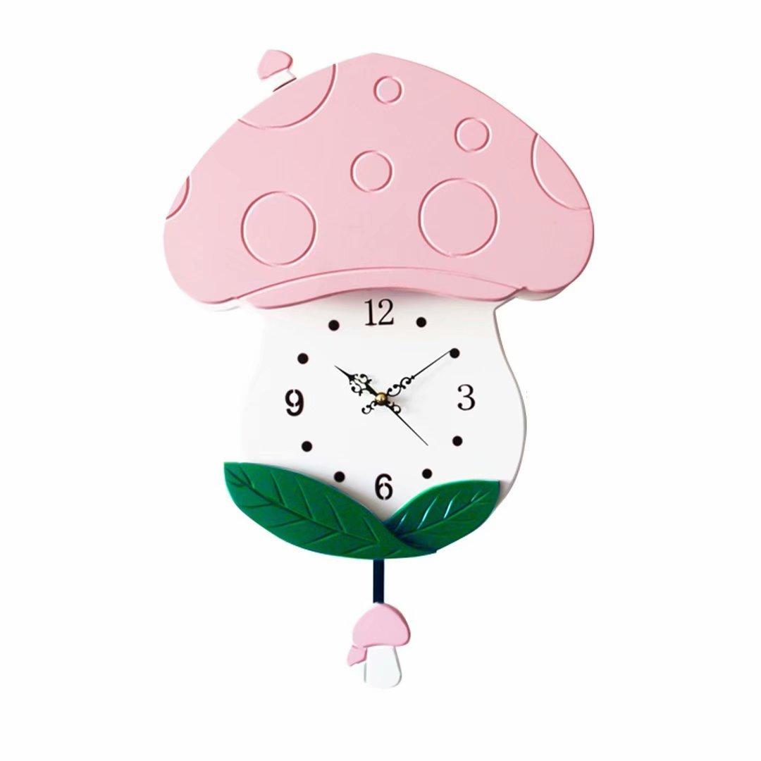 キノコ 子ども部屋 掛時計 壁掛け 壁掛け時計 おしゃれ 掛け時計 シズネ 時計 シンプル 田園 ピンク SFANY B07DXBLWKX ピンク ピンク