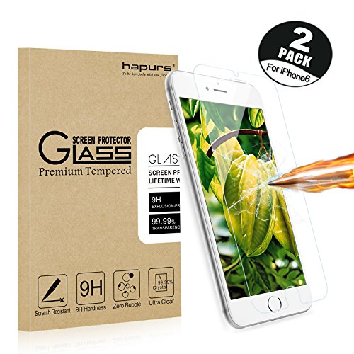 [2-Pack]iPhone 6S Screen Protector, Hapurs iphone 6S iphone 6 Tempered Glass Screen Protector 0.3mm Premium High Definition Shockproof Screen Film for Iphone 6S/6
