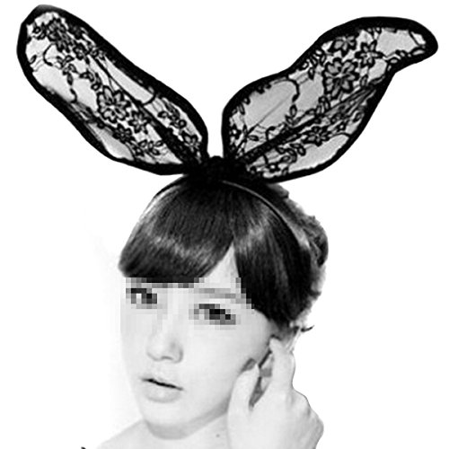 """Wowlife Sexy Black Lace Headbands Sweet Bunny Rabbit Ear Hair Band for Wedding Party Cosplay Costume Accessory (15.7*3.5"""")"""