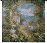Mediterranean Arches Ii   Woven Tapestry Wall Art Hanging   Cerulean Seascape Majestic Arches Seaside Cascading Wisteria Tuscan Villa   100% Cotton USA 54X53