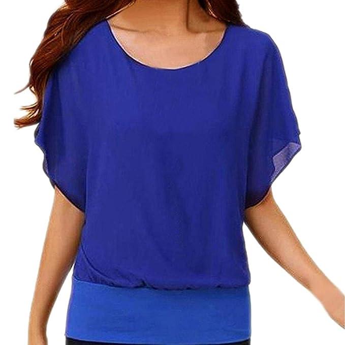 Camisa de Manga Corta sólida de Moda Irregular de la Mujer Blusa Vintage Camisetas Azules Gimnasio