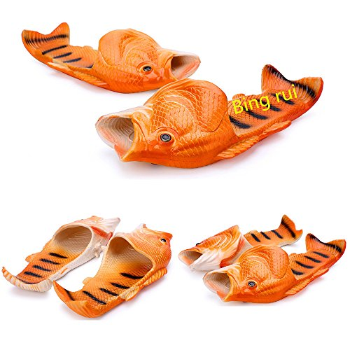 3 colors Fish slippers Beach Shoes Pool Non-slip Sandals Creative Hand painted Fish Slippers Men and Women Casual Shoe Beach and home use (red, woman (7-8) / Male(6-6.5)) by BING RUI CO