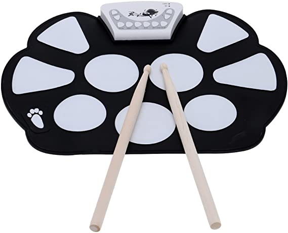 Eoncore Portable Roll up Drum Pad Kit for Kids USB Interface Silicon Digital Drum Set with Stick Foot Switch Pedal