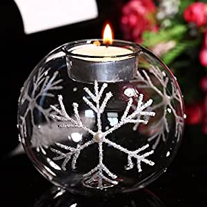JinYiDian'Shop-The painted white twigs snowflake/crystal glass candles/candlelight dinner in the necessary household ,10cm
