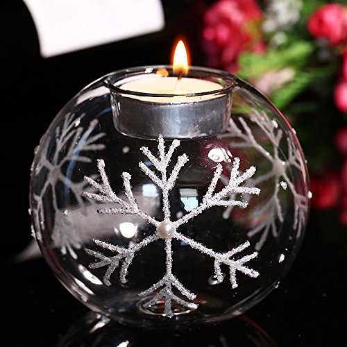 Clear Glass Silver & Pearl Embossed Snowflake Tea Light Candle Holder