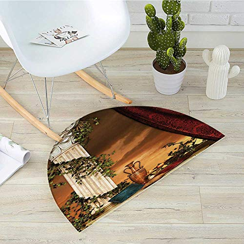 Gothic Semicircle Doormat Greek Style Scene Climber Pillow Fruits Vine and Red Curtain Ancient Goddess Sunset Halfmoon doormats H 27.5