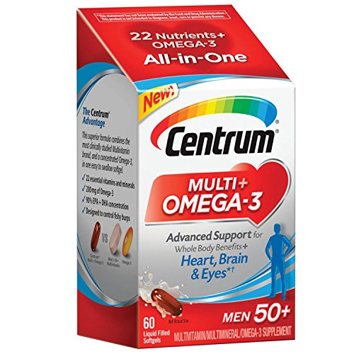 Centrum Multi + Omega-3 (60 Count, 2 Month Supply) Adult Multivitamin and Omega-3 Supplement for Men Over 50, Multivitamin Support for Your Heart, Vitamins B6, B12 and Folate For Sale
