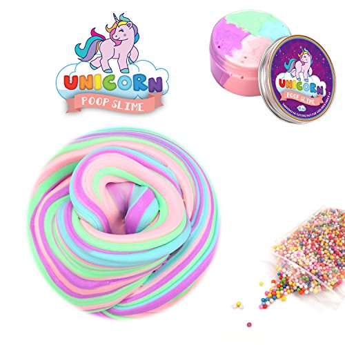 My Playful Kiddos Unicorn Fluffy Slime package with beads, NON-STICKY Soft extra Fluffy Floam Slime putty, Stress Relief Toy, Great gift for - Brands That S With Start