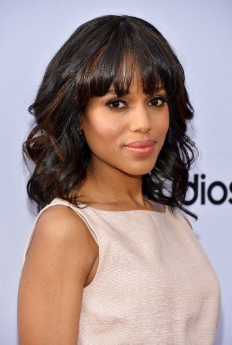 - Fashion Shoulder Length Long Bob Hair Wigs For Black Women Medium Wavy Cut With Bangs Synthetic Party Costume Cosplay Wig 14 Inches (Black mix Brown-02)