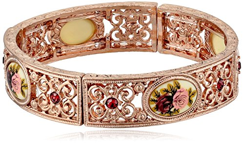 1928 Jewelry Victorian Inspired Floral   Rose Gold-Tone Bracelet