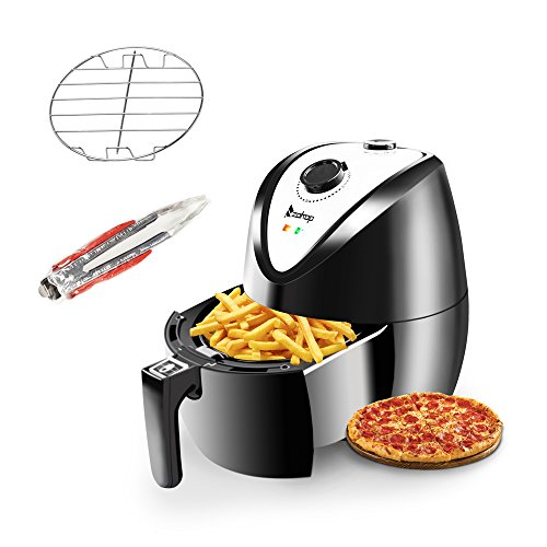 Z ZTDM Healthy Air Fryer (Two Styles) 3.7Quart 1500W Quick Cooking/Power Saving/Easy Cleaning, Automatic Air Frying Machine with Metal Holder and Cooking Tongs (Black)