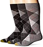 Gold Toe Men's 3-Pack Carlyle Argyle Crew Sock Black Grey Argyle Mix Shoe Size: 6-12.5