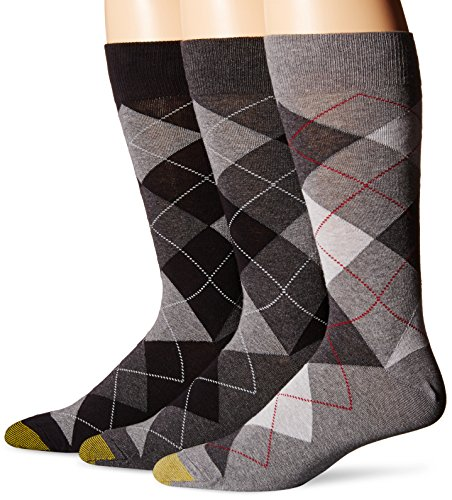 - Gold Toe Men's 3-Pack Carlyle Argyle Crew Sock Black Grey Argyle Mix Shoe Size: 6 - 12.5