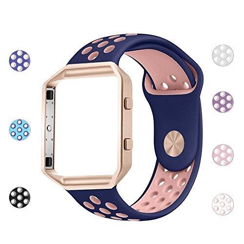 iGK Silicone Replacement Bands Compatible for Fitbit Blaze, Soft Sport Strap with Metal Frame for Fitbit Blaze Navy & Pink Band with Rose Gold Frame Large