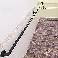 Retro Pasamanos para escaleras Exterior Interior Metal Negro Hierro Forjado |Las Soportes de barandillas de barandas Directamente a la Puerta de la Escalera o a la Entrada de la Bodega (30-300cm) Pasa: