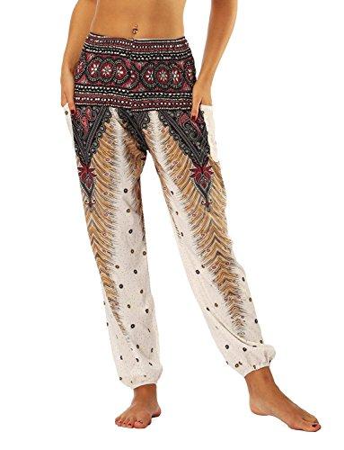 Pluderhose Tempo Donna Pantaloni Di Fashion Ragazze Stampato Harem Pfau Stoffa Yoga Estivi nbsp; Saoye Libero White Pantaloni Pantaloni Baggy Pantaloni Giovane 7Svvw5